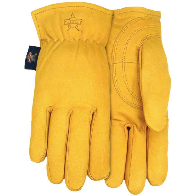 PBR Premium Goatskin Leather Professional Bull Rider's Glove XL, Yellow