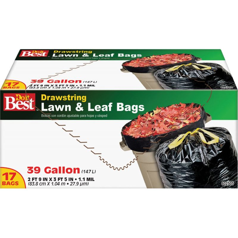 Do it Best Drawstring Lawn & Leaf Bag 39 Gal., Black