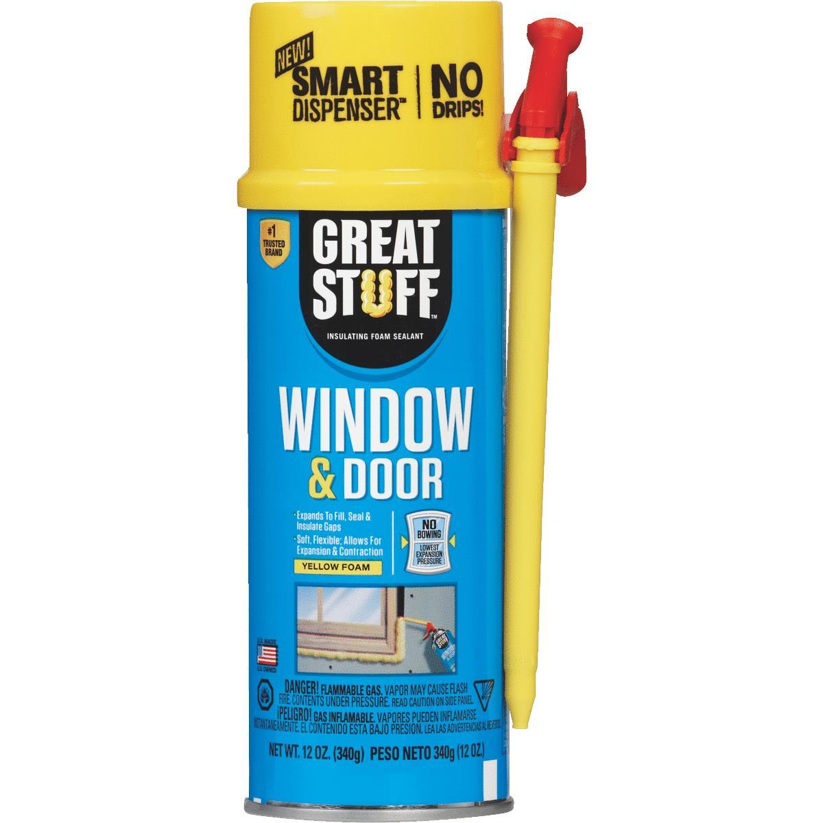 GREAT STUFF Smart Dispenser Window & Door Insulating Foam Sealant 12 Oz ,  Yellow