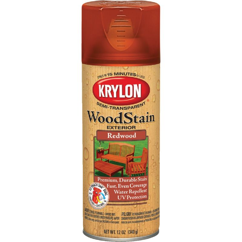 Krylon Exterior Semi-Transparent Wood Stain Spray 12 Oz., Redwood