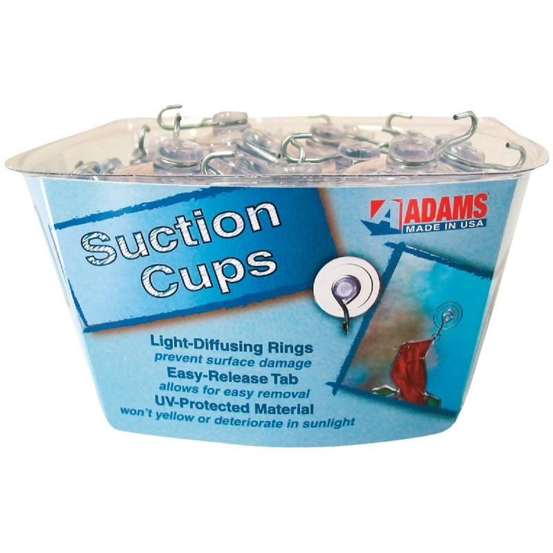 Adams Bulk Counter Display Of Suction Cups With Hook 1-3/4 In., Clear