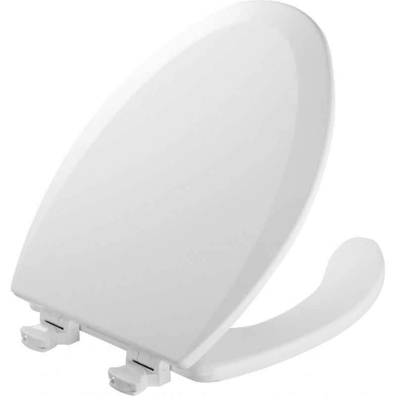 Mayfair Commercial Open Front Toilet Seat with Cover White, Elongated