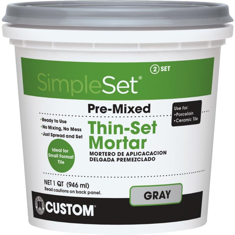 Custom Building Products SimpleSet Pre-Mixed Thin-Set Mortar Quart, Gray