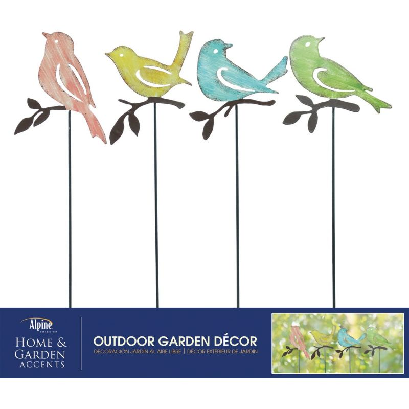 Alpine Bird Garden Stake Lawn Ornament Assorted (Pack of 24)