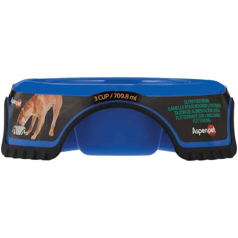 Aspen Pet Skid Stop Slow Feed Pet Food Bowl Large, Blue