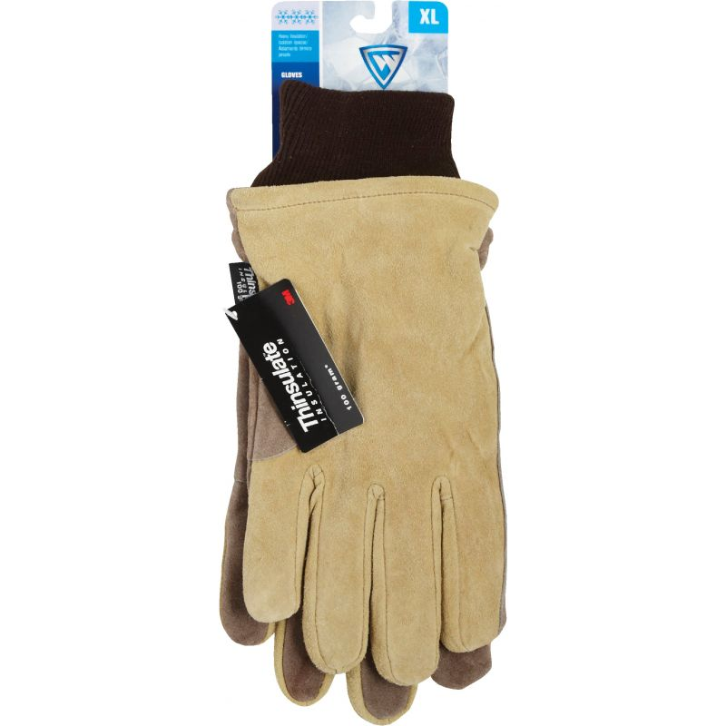 West Chester Cowhide Leather Winter Work Glove XL, Tan & Brown