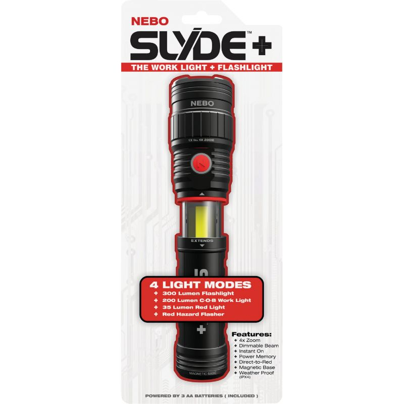 Nebo Slyde+ LED Flashlight & Work Light Black