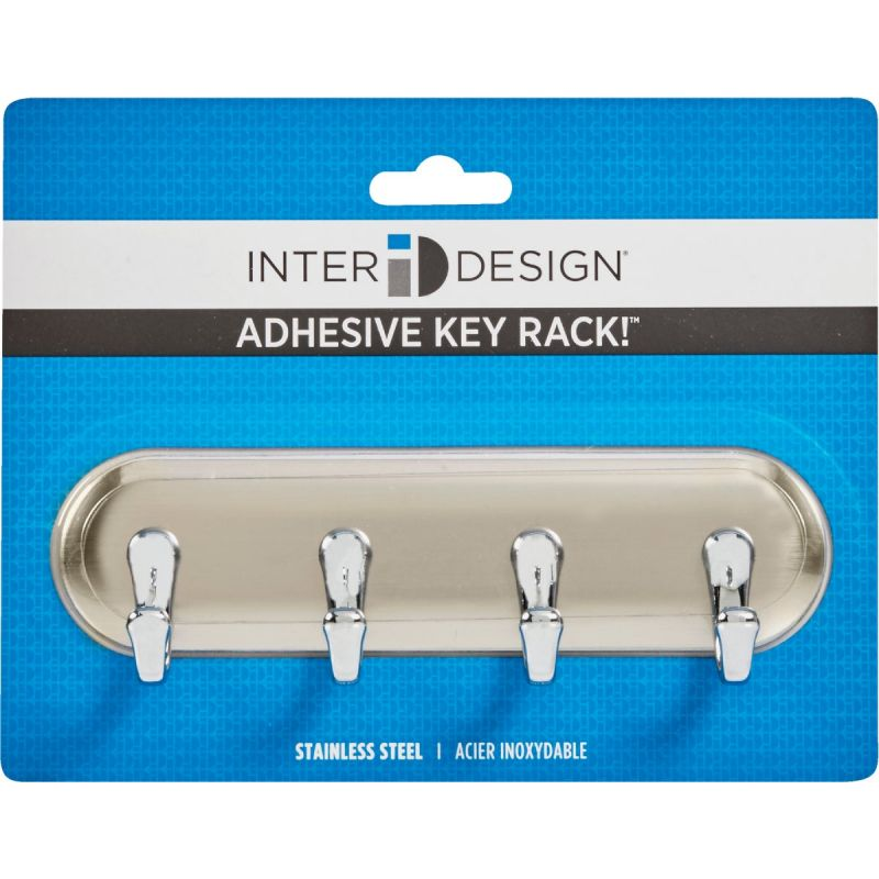 InterDesign York Key Rack Brushed Stainless Steel
