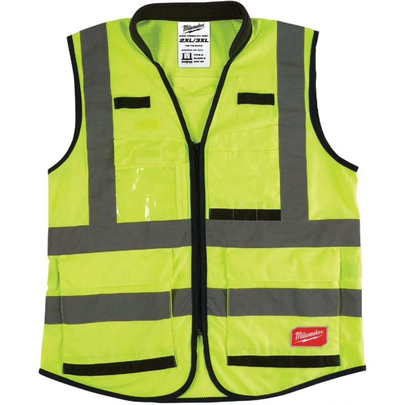 Milwaukee ANSI Class 2 Performance Safety Vest 2XL/3XL, Hi Vis Yellow