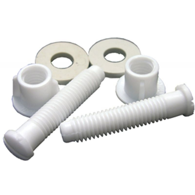 """Lasco Toilet Seat Hinge 7/16"""" Bolts, Nuts, And Washers 7/17"""" X 2-1/8"""", White"""