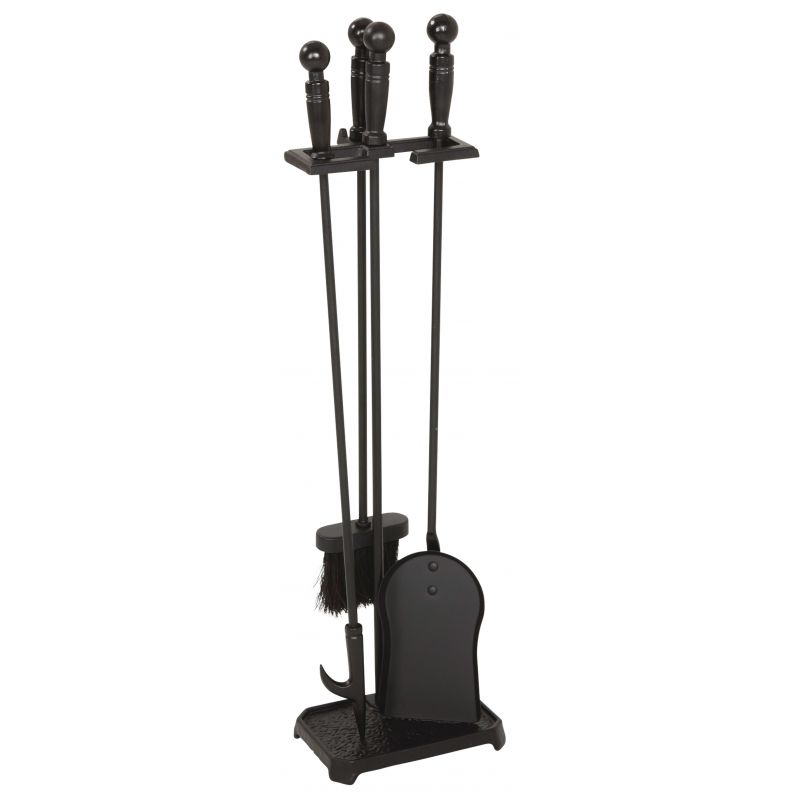 Home Impressions 4-Piece Fireplace Tool Set Black