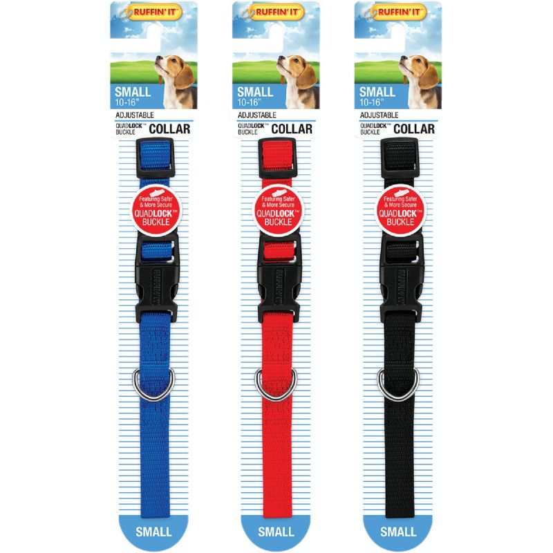 Westminster Pet Ruffin' it Adjustable Nylon Dog Collar Black/Red/Blue