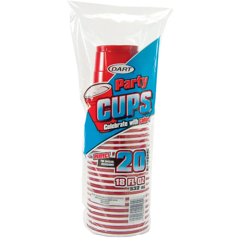 Dart Party Plastic Cup 18 Oz., Red (Pack of 12)