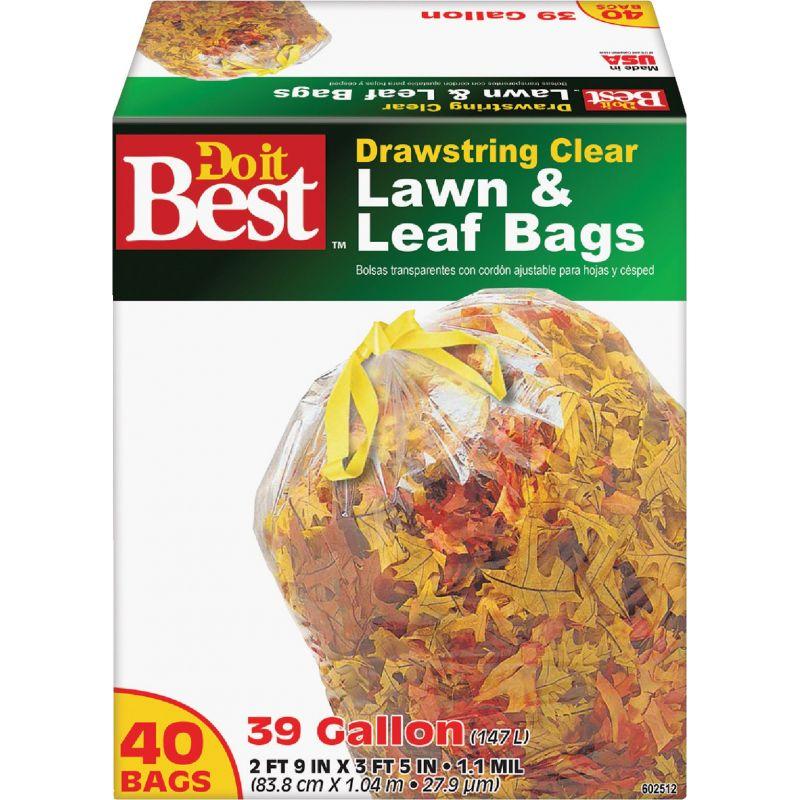 Do it Best Drawstring Lawn & Leaf Bag 39 Gal., Clear