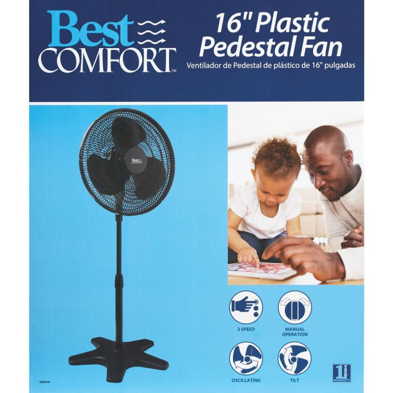 Best Comfort 16 In. Oscillating Pedestal Fan 16 In., Black