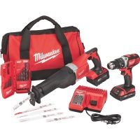Milwaukee M18 Lithium-Ion Hammer Drill/Recip Saw/Accessory Cordless Tool Combo Kit