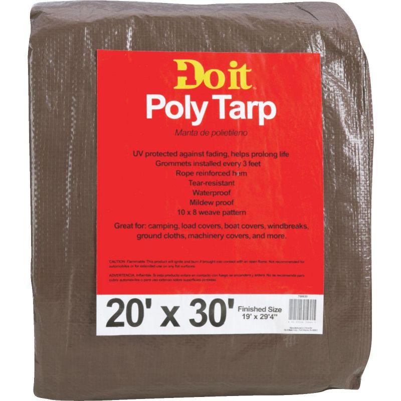 Do it Medium Duty Poly Tarp 20 Ft. X 30 Ft., Green/Brown