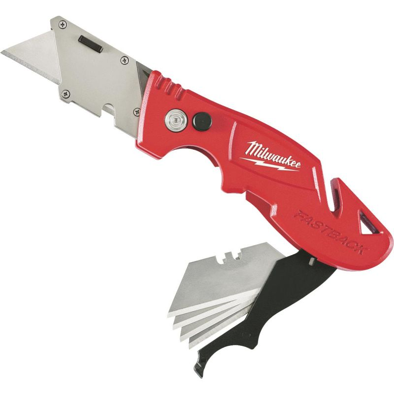 Milwaukee FASTBACK Folding Utility Knife with Blade Storage Red