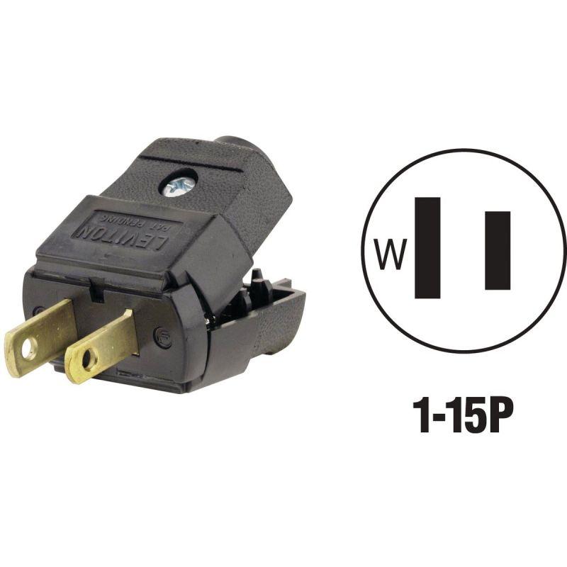 Leviton Hinged Cord Plug Black, 15A
