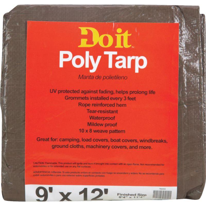 Do it Medium Duty Poly Tarp 9 Ft. X 12 Ft., Green/Brown