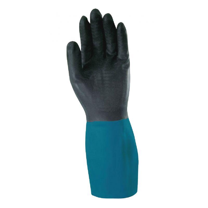 Wells Lamont Latex with Neoprene Overdip Refinishing Coated Glove L, Blue & Black