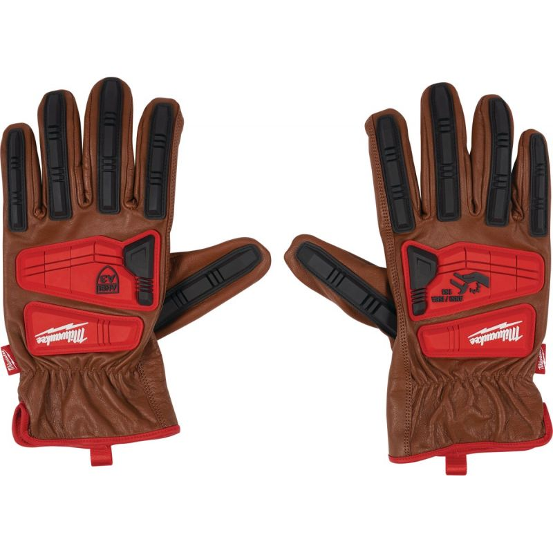 Milwaukee Impact Cut Level 3 Men's Goatskin Leather Work Gloves XL, Red & Brown