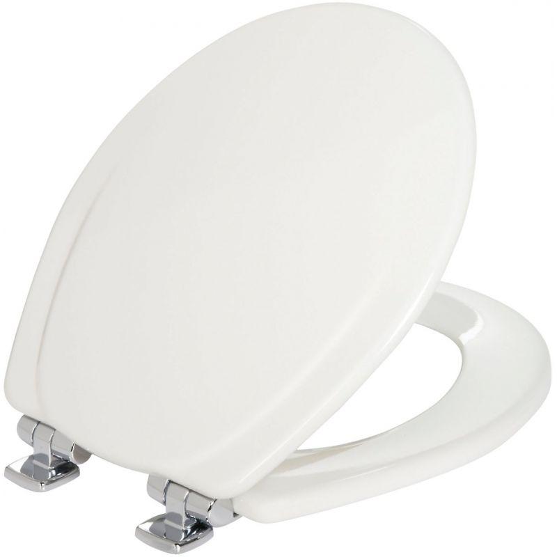 Mayfair Round STA-TITE Slow Close White Wood Toilet Seat White, Round