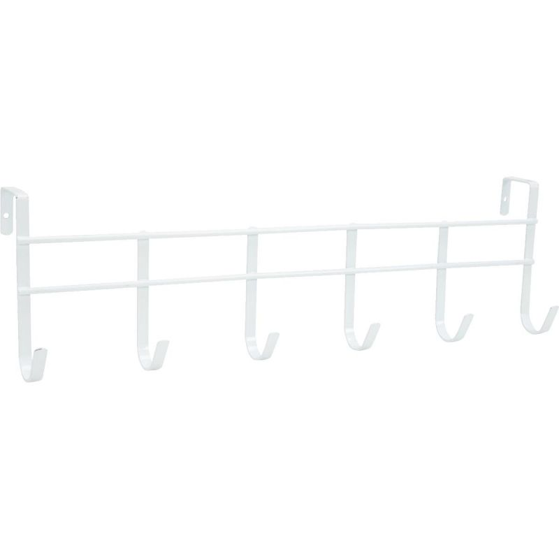 Spectrum 6 Large Hooks Over-The-Door Hook Rail White