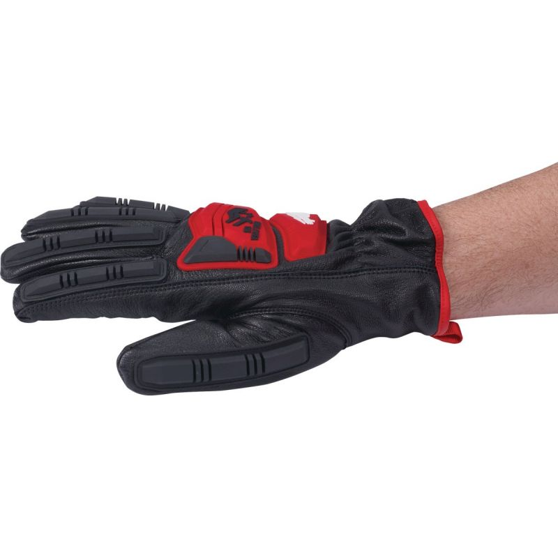 Milwaukee Impact Cut Level 5 Men's Goatskin Leather Work Gloves XL, Red & Black