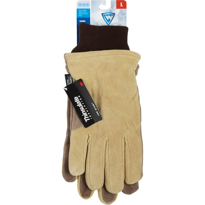 West Chester Cowhide Leather Winter Work Glove L, Tan & Brown