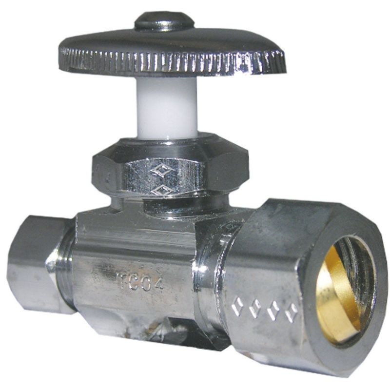 """Lasco Copper Compression X Iron Pipe Straight Stop Valve 5/8"""" Comp Inlet X 3/8"""" Comp Outlet"""