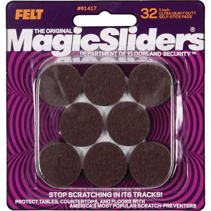 Magic Sliders Self Adhesive Felt Furniture Pad 1 In., Brown