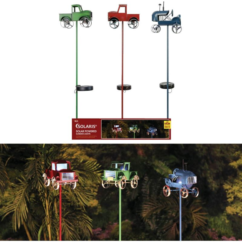 Alpine Rustic Farm Truck Solar Stake Light Assorted (Pack of 6)