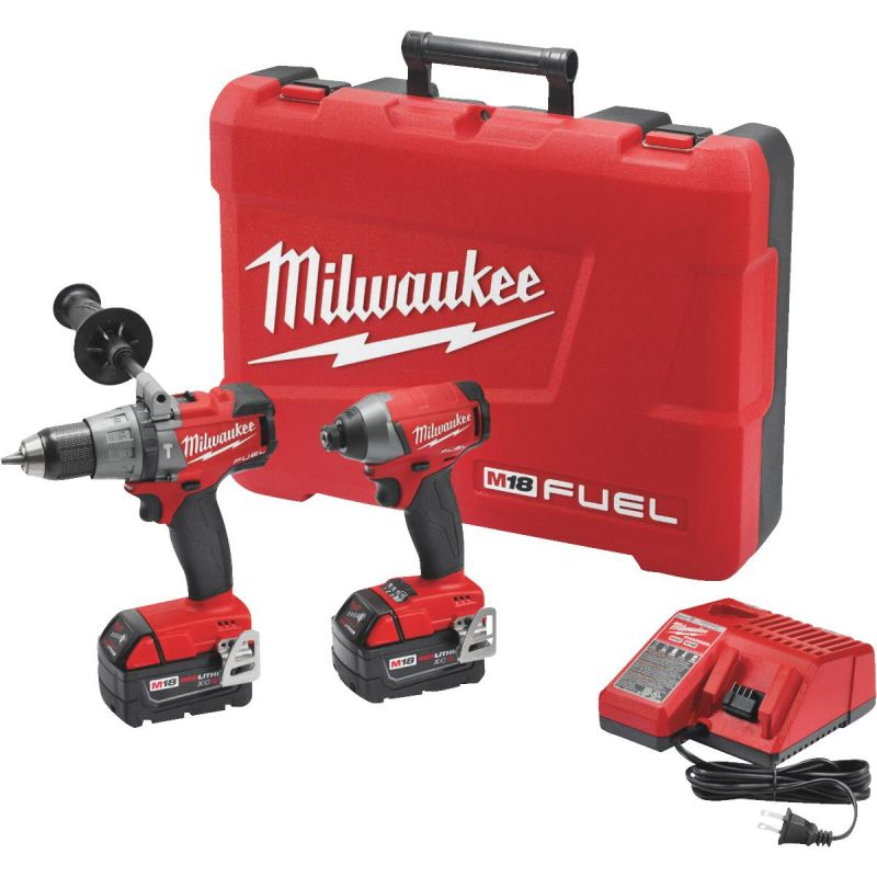 Milwaukee M18 FUEL Li-Ion Brushless Hammer Drill & Impact Cordless Tool Combo Kit
