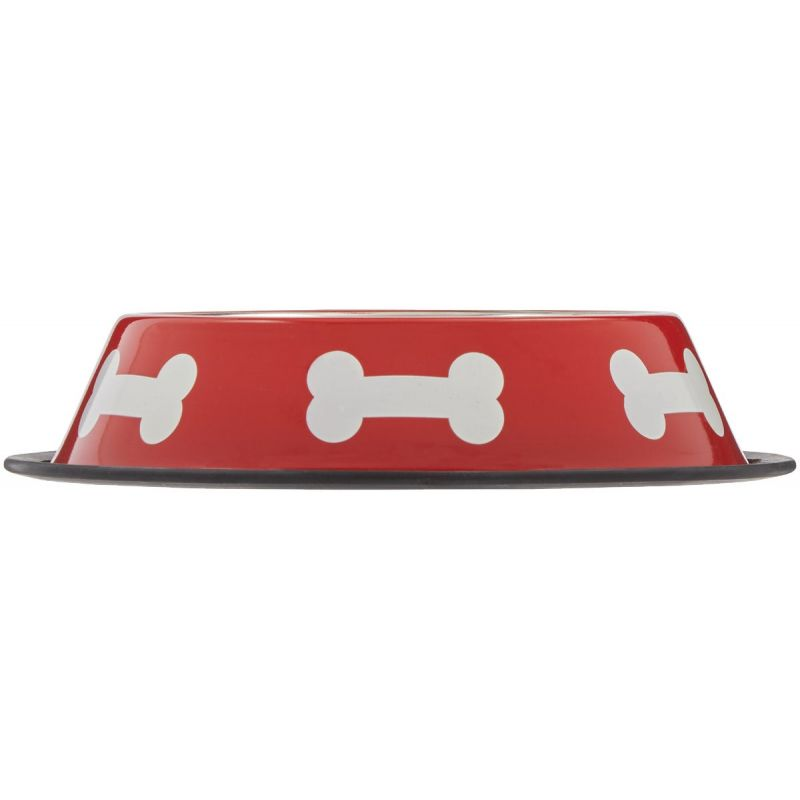 Westminster Pet Ruffin' it Bone Design Pet Food Bowl 32 Oz., Red & White
