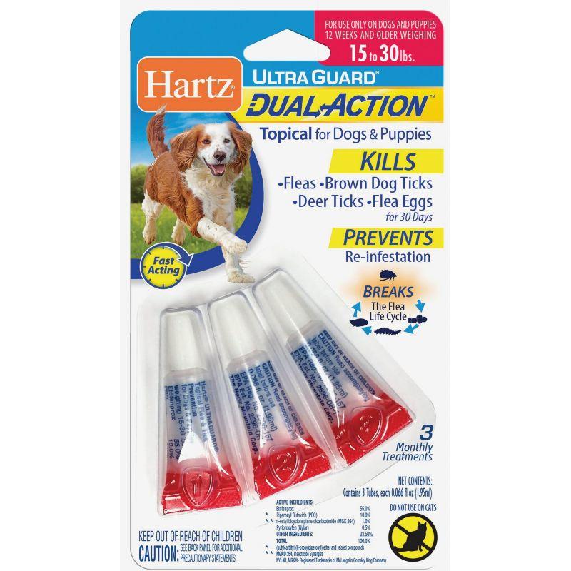 Hartz UltraGuard Dual Action Flea & Tick Treatment For Dogs & Puppies (3) 0.066 Oz.Tubes