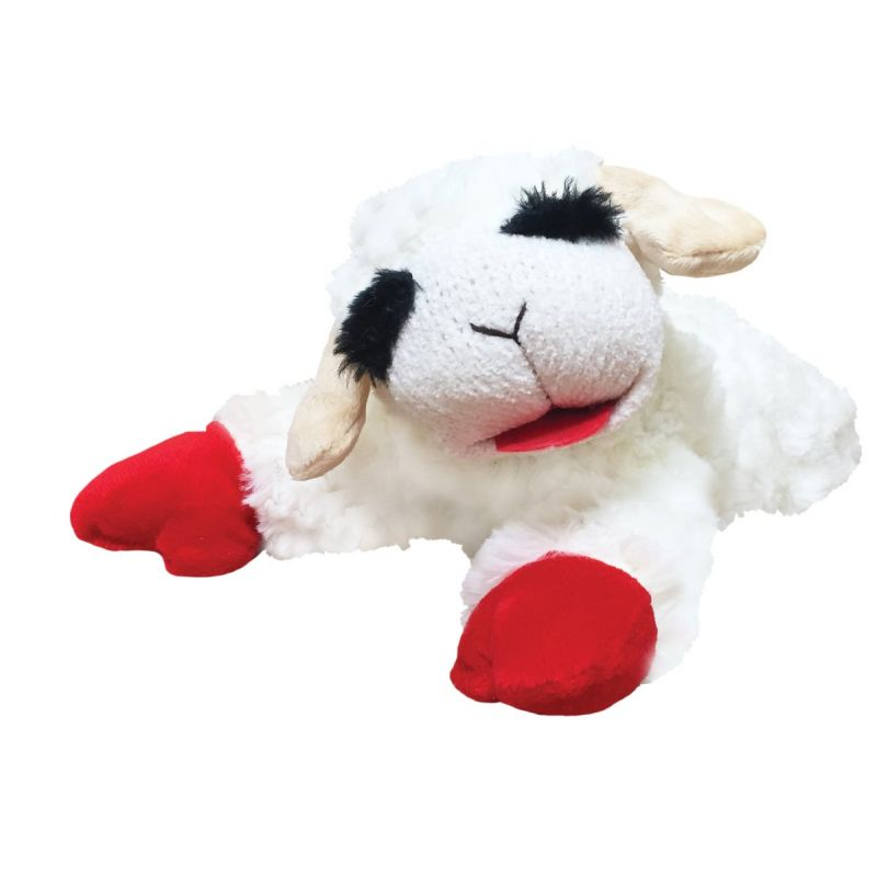 Multipet Lamb Chop Dog Toy 10.5 In., White