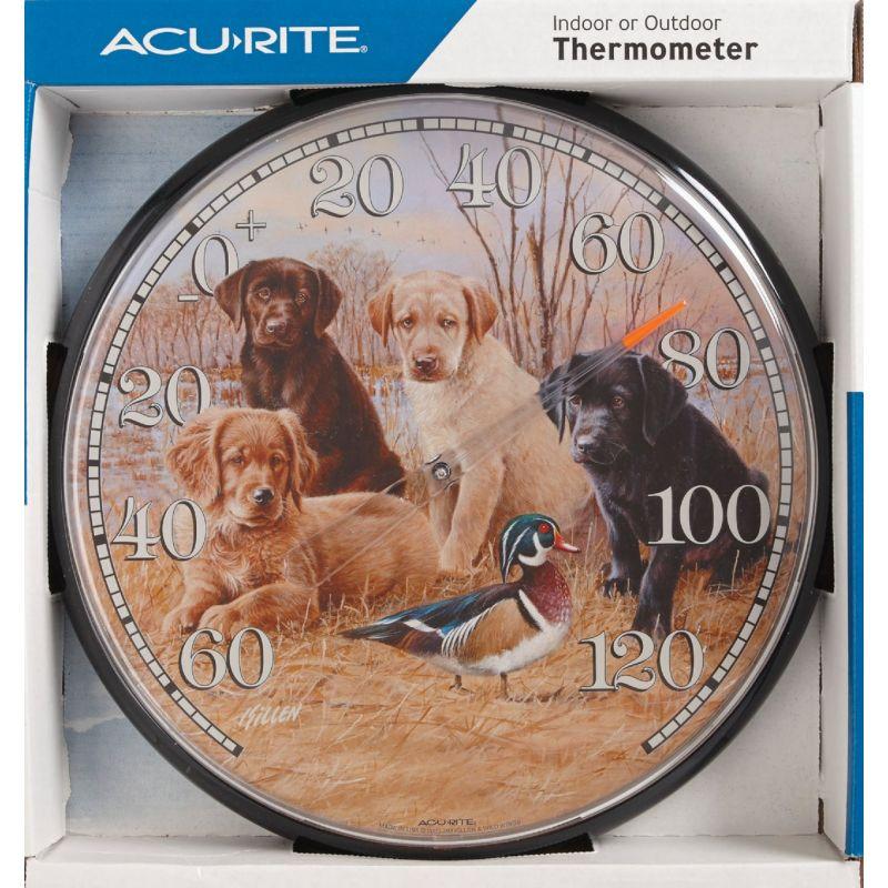 "AcuRite Puppies Indoor And Outdoor Thermometer 12-1/2"" Dia, Black Trim"