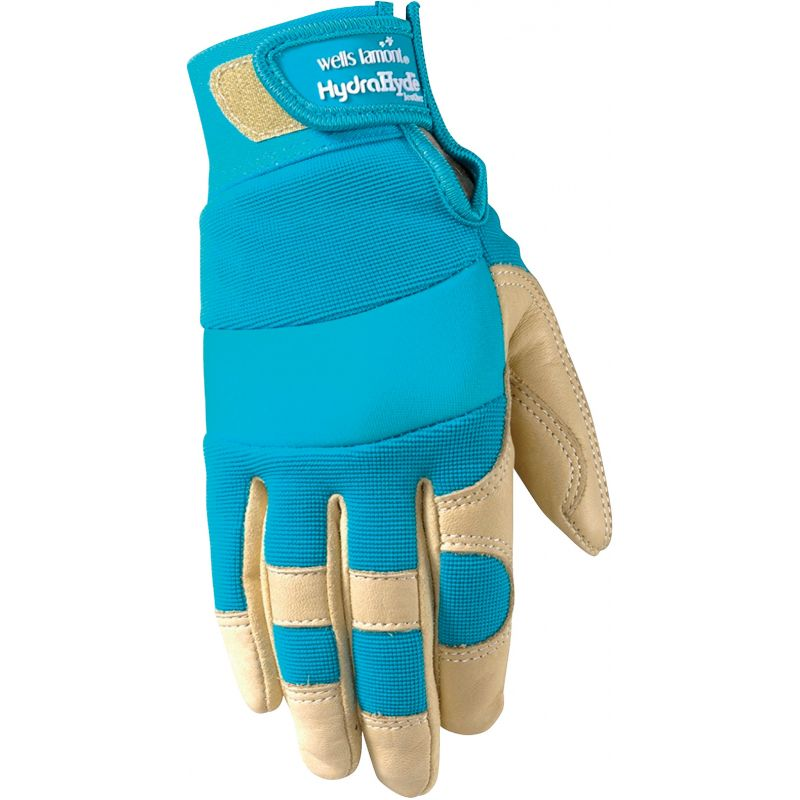 Wells Lamont HydraHyde Women's Adjustable Wrist Work Glove L, Tan & Blue