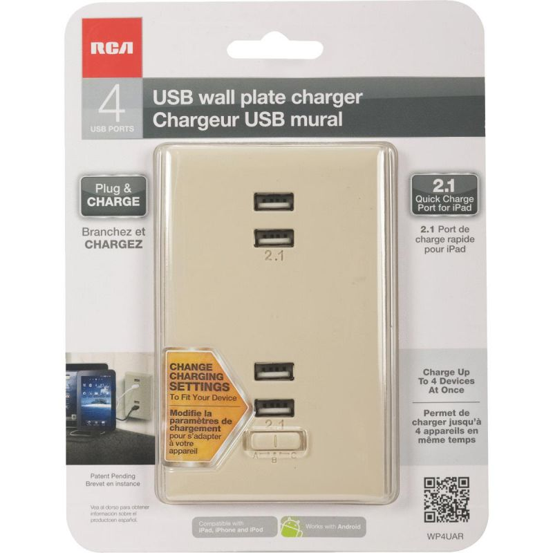 RCA Wall Plate USB Charger Almond, 2.1A