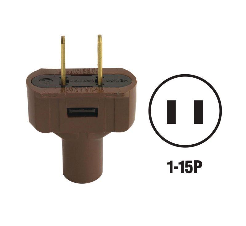 Brown 15A 2 Wire 2 Pole Vinyl Electric Cord Plug Free Ship