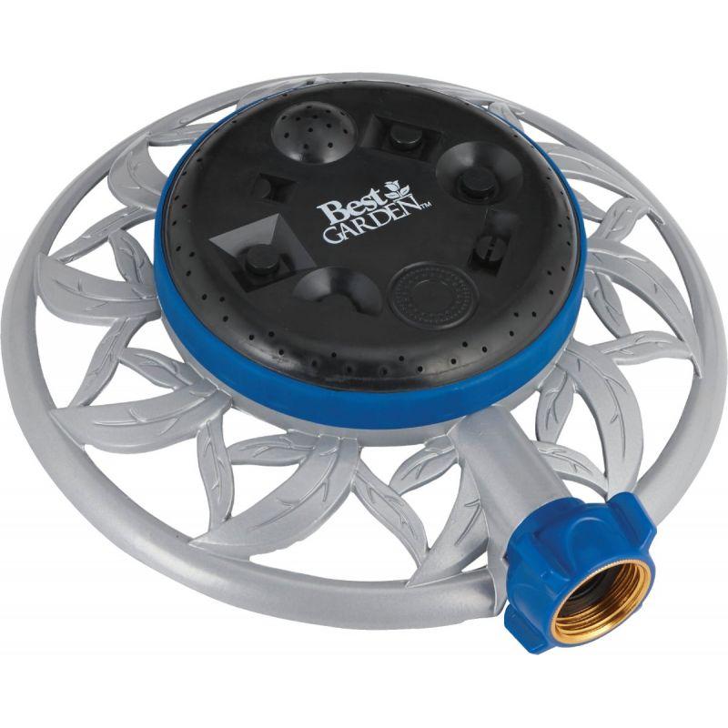 Best Garden Metal Stationary Turret Sprinkler Blue, Gray & Black