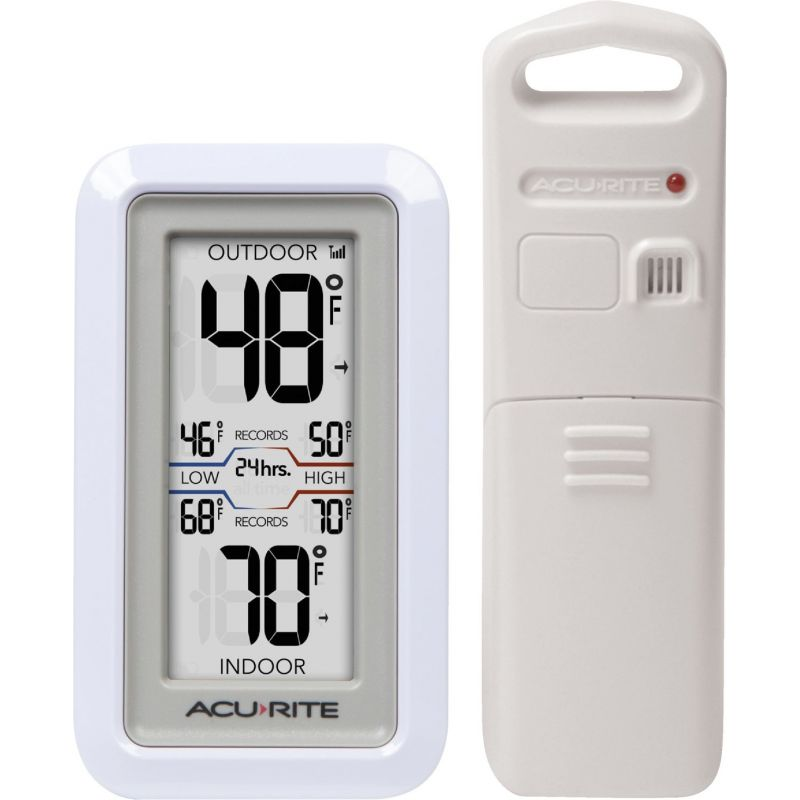 Acu-Rite Digital Thermometer With Indoor/Outdoor Sensor 3-1/2 W. X 4-13/16 In. H., White