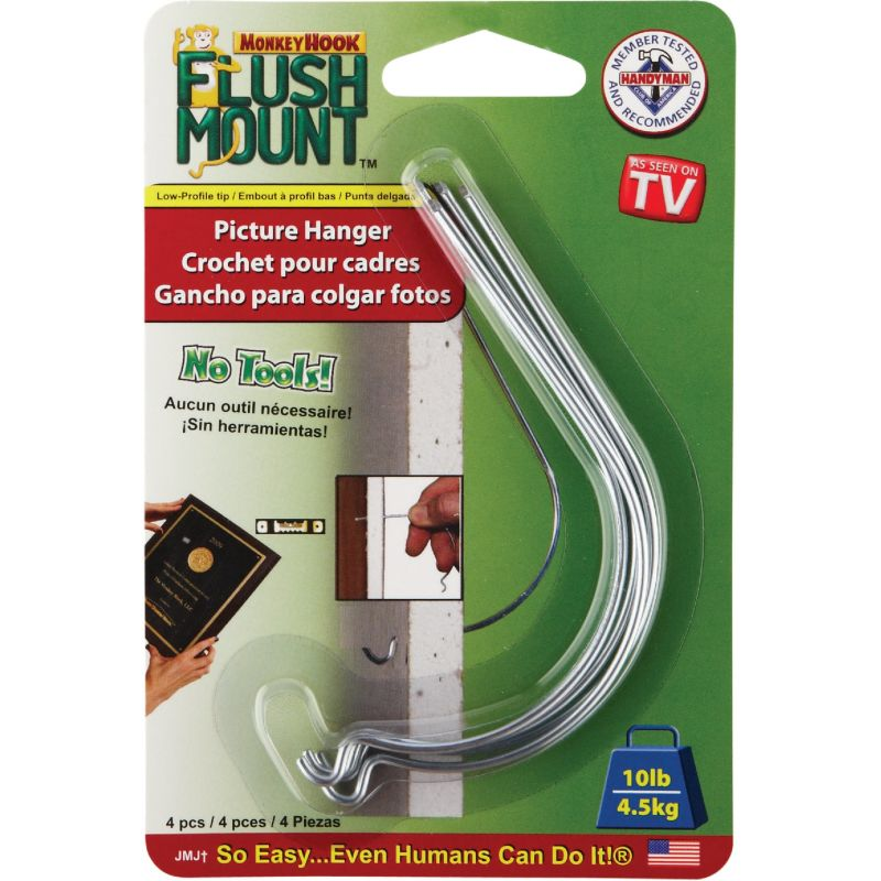 Monkey Hook Flush Mount Picture Hanger For Drywall & Sheetrock (Pack of 12)