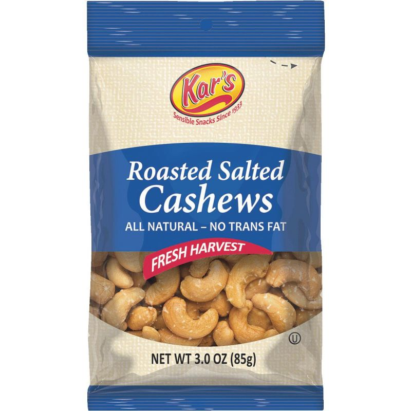 Kar's Salted Cashew Nuts 3 Oz. (Pack of 12)