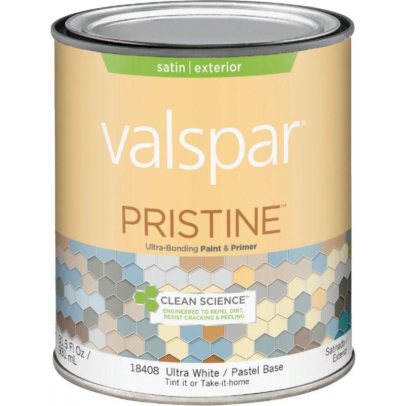 Valspar Pristine 100% Acrylic Paint & Primer Satin Exterior House Paint 1 Qt., Ultra White/Pastel Base