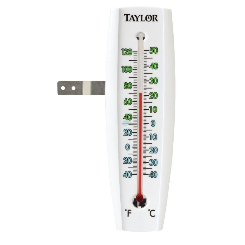 Taylor Easy-To-Read Indoor & Outdoor Thermometer 2-3/8 In. W. X 7-5/8 In. H. X 1/2 In. D., Bright Red & Blue