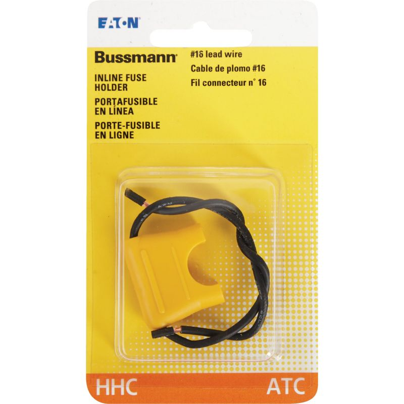 Bussmann ATC Inline Fuse Holder 2 X 4 In., Yellow, 20A