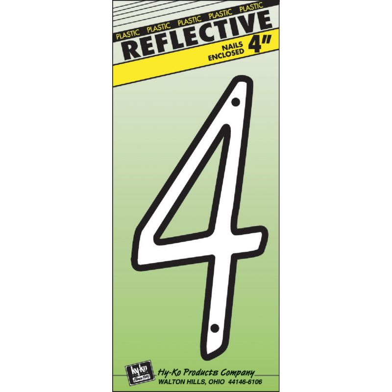 Hy-Ko 4 In. Reflective Plastic Number White, Raised Script