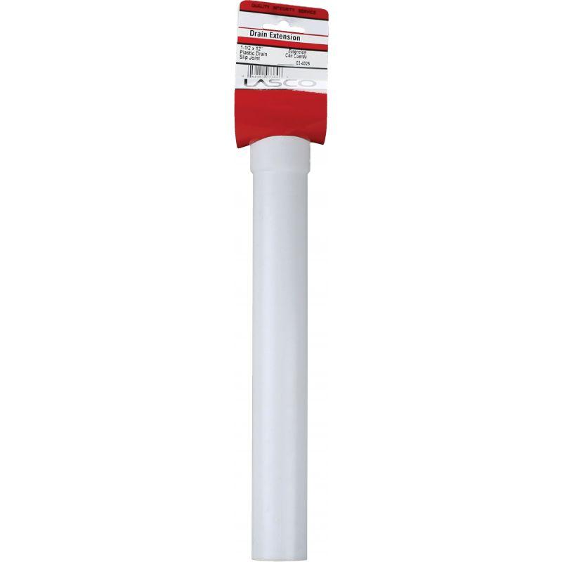 """Lasco Plastic Slip Joint Extension Tube 1-1/2"""" OD X 12"""" L"""
